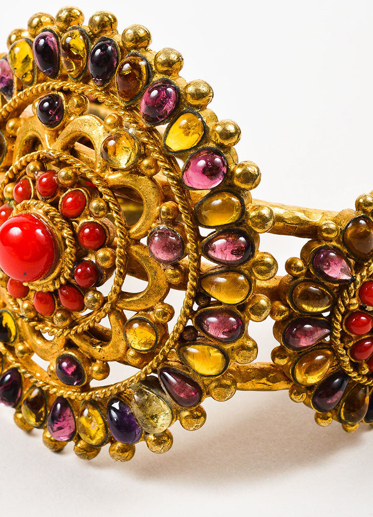 Chanel Gold Toned, Red, and Purple Gripoix Glass Medallion Cuff Bracelet Detail