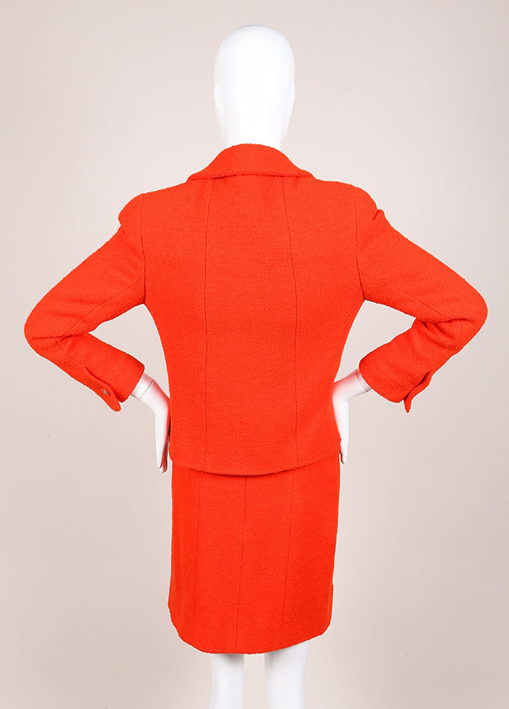 Chanel Orange Boucle Skirt Suit Backview