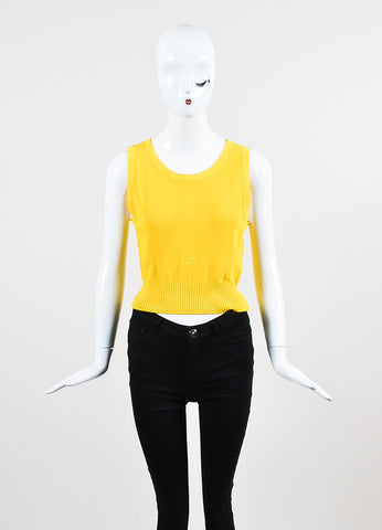 Chanel Canary Yellow Ribbed Knit Scoop Neck Sweater Vest Frontview