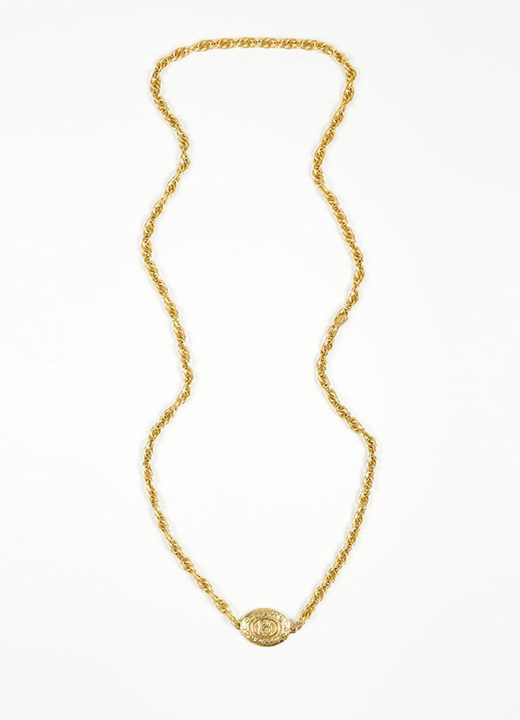 Gold Toned Chanel 'CC' Oval Pendant Chain Necklace Frontview