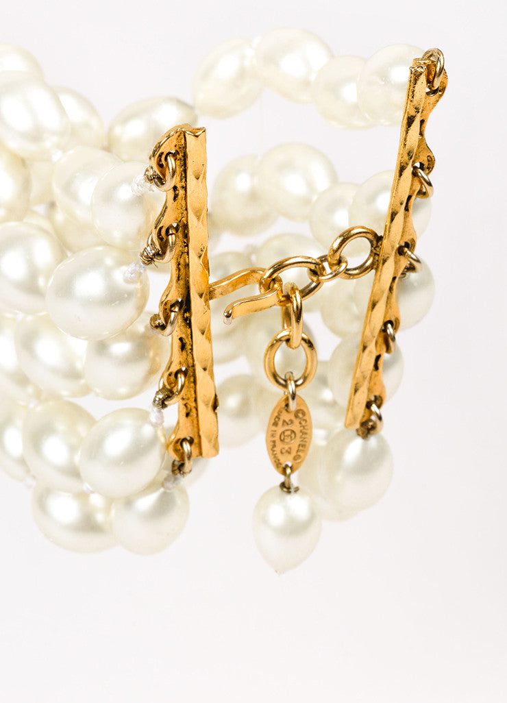 Chanel Gold Toned Cream Faux Pearl Embellished Multi Strand Bracelet Detail