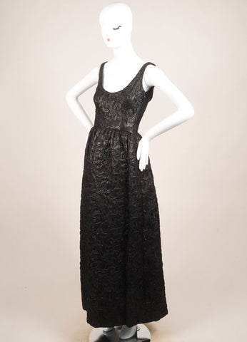 Norman Norell Black Textured Brocade Full Length Sleeveless Gown Sideview