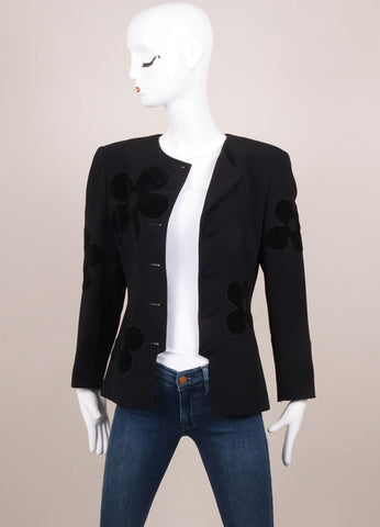 Valentino Black Velour Flower Detail Long Sleeve Blazer Jacket Frontview