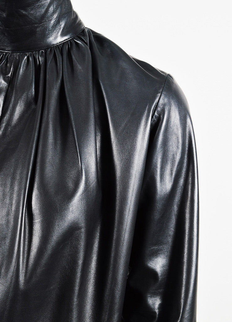 Yves Saint Laurent Black Leather Long Sleeve Tie Top Detail