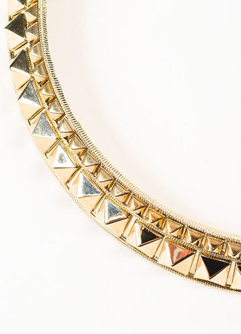 "Gold Toned Valentino Metal Pyramid ""Rockstud"" Collar Necklace Detail"