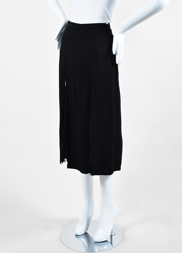 Wes Gordon Black Crepe Sheer Lace Paneled and Layered Slit Midi Skirt Sideview
