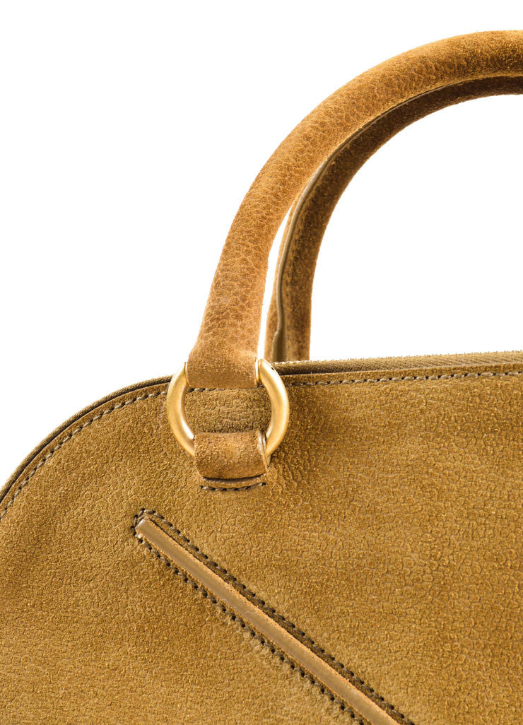 "Yves Saint Laurent Brown Pebbled Suede Leather ""Sac 32"" Tote Bag Detail 2"