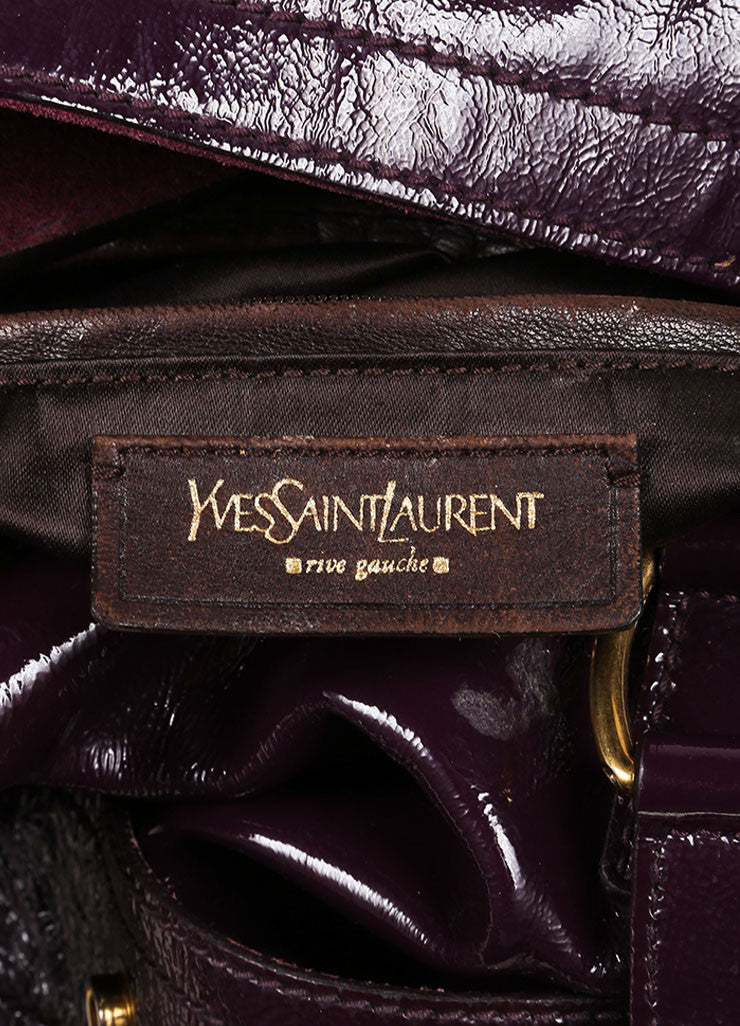 "Yves Saint Laurent Purple Patent Leather Textured ""Downtown"" Tote Bag Brand"