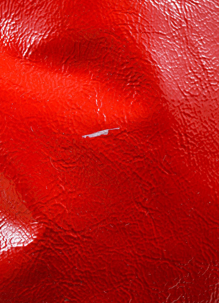 "Red 	 Yves Saint Laurent Patent Leather ""Tribute"" Tote Bag Detail 3"