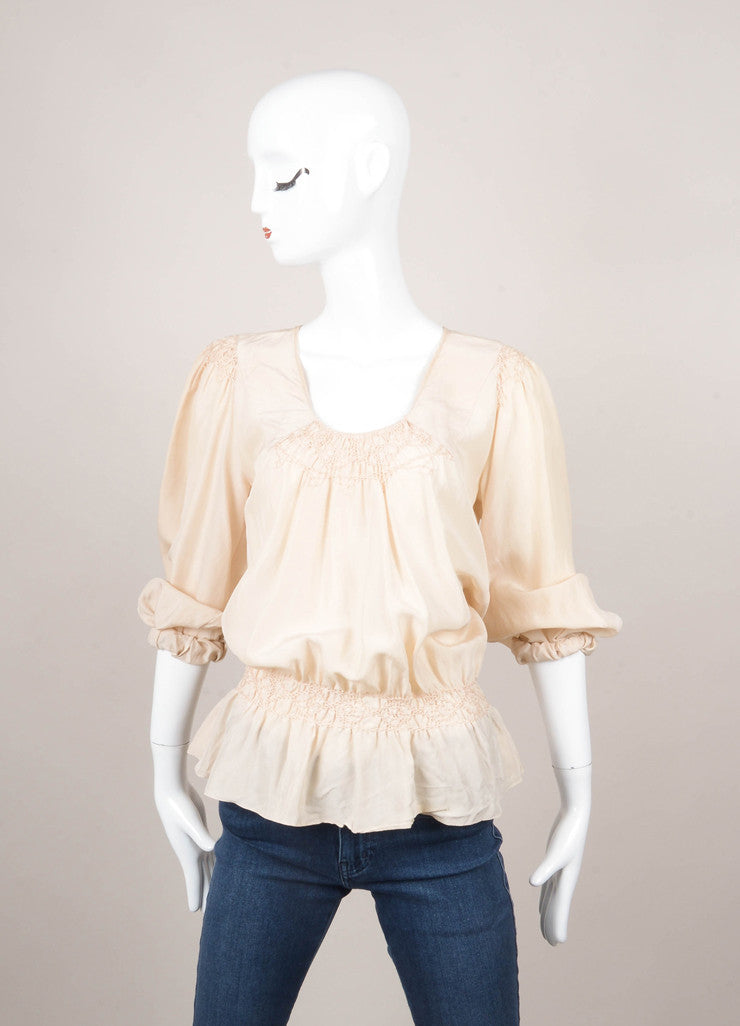 Cream Embroidered Long Sleeve Silk Peasant Blouse
