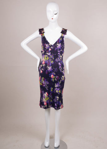 Purple and Multicolor Abstract Brushstroke Print Sleeveless Dress