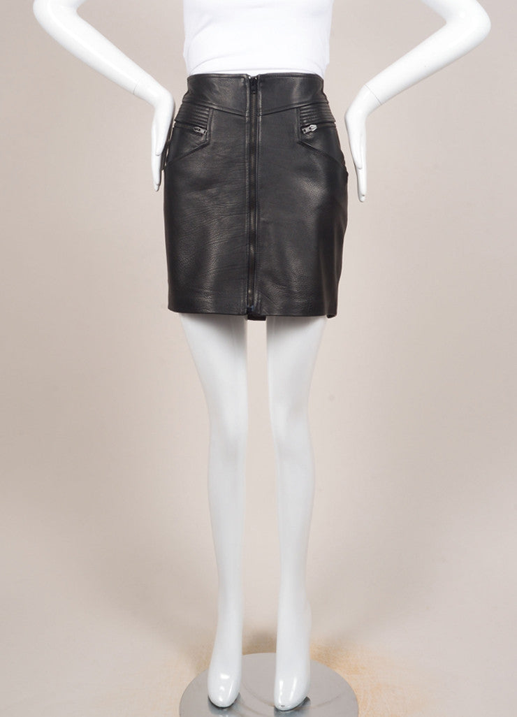 "A.L.C. New With Tags Black Multi-Pocket Quilted Trim Zip ""Peter"" Leather Skirt Frontview"