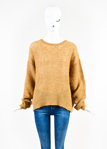 Acne Studios Camel Linen Blend Loose Knit Crew Neck Sweater Frontview