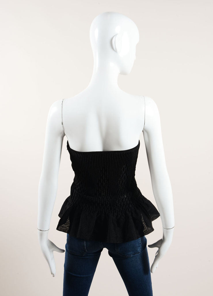 Alaia Black Textured Ribbed Pleated Peplum Strapless Corset Top Backview