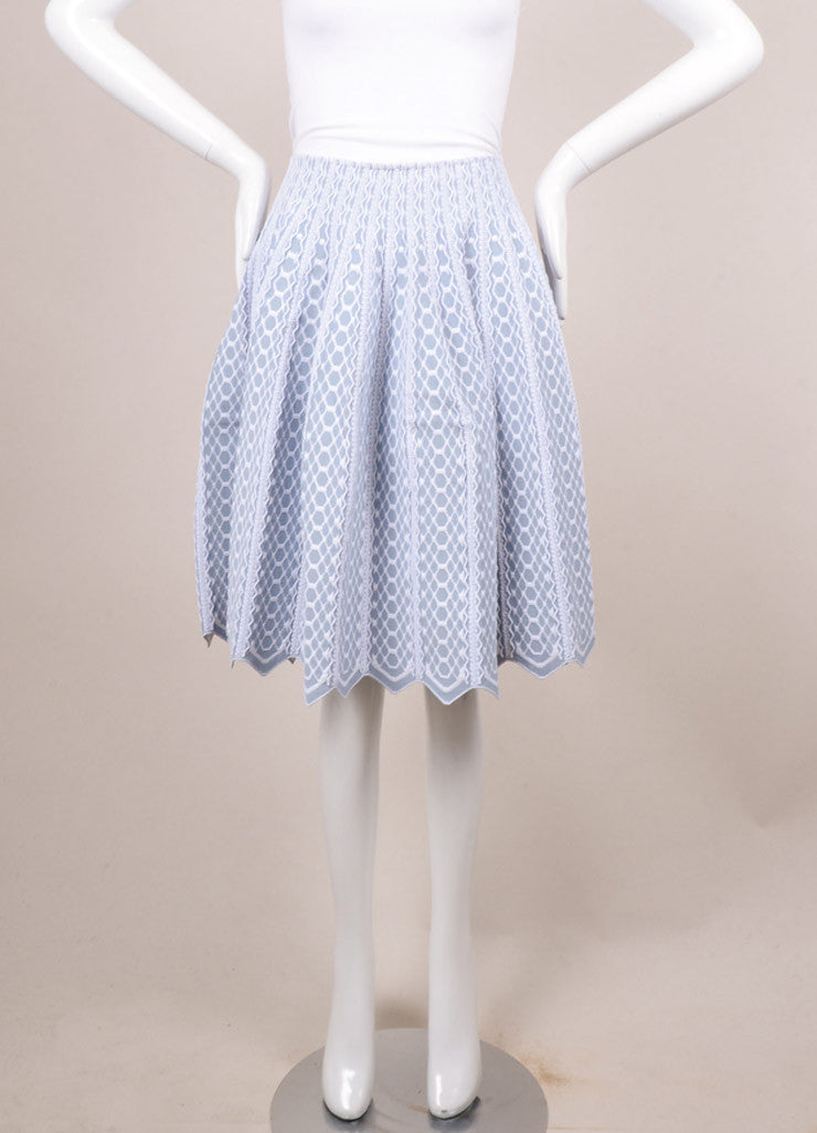 Alaia Blue and White Textured Pattern Full Pleated Skirt Frontview