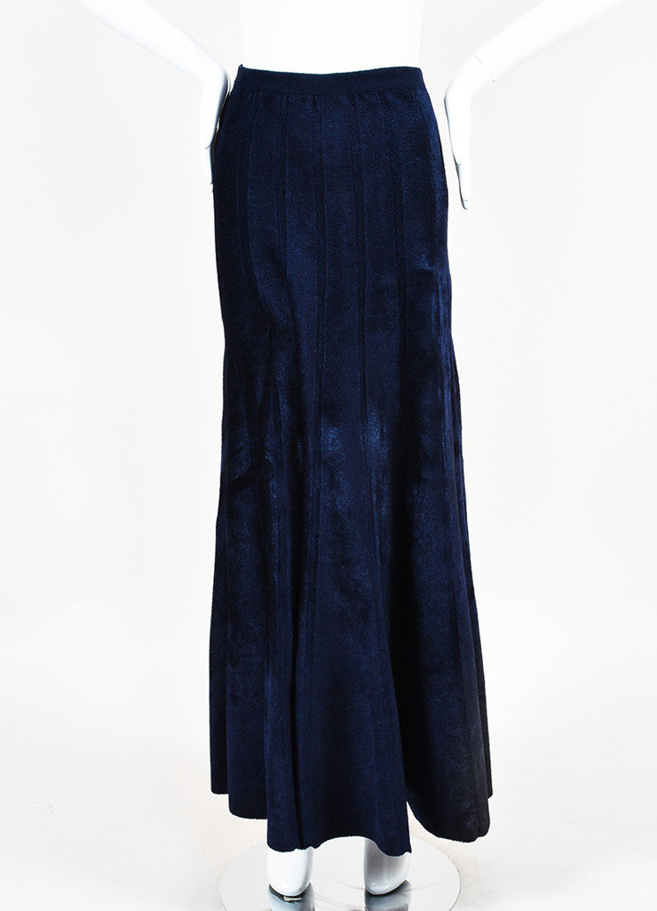 Navy Blue Alaia Velour Thick Seamed Fluted Maxi Skirt Front