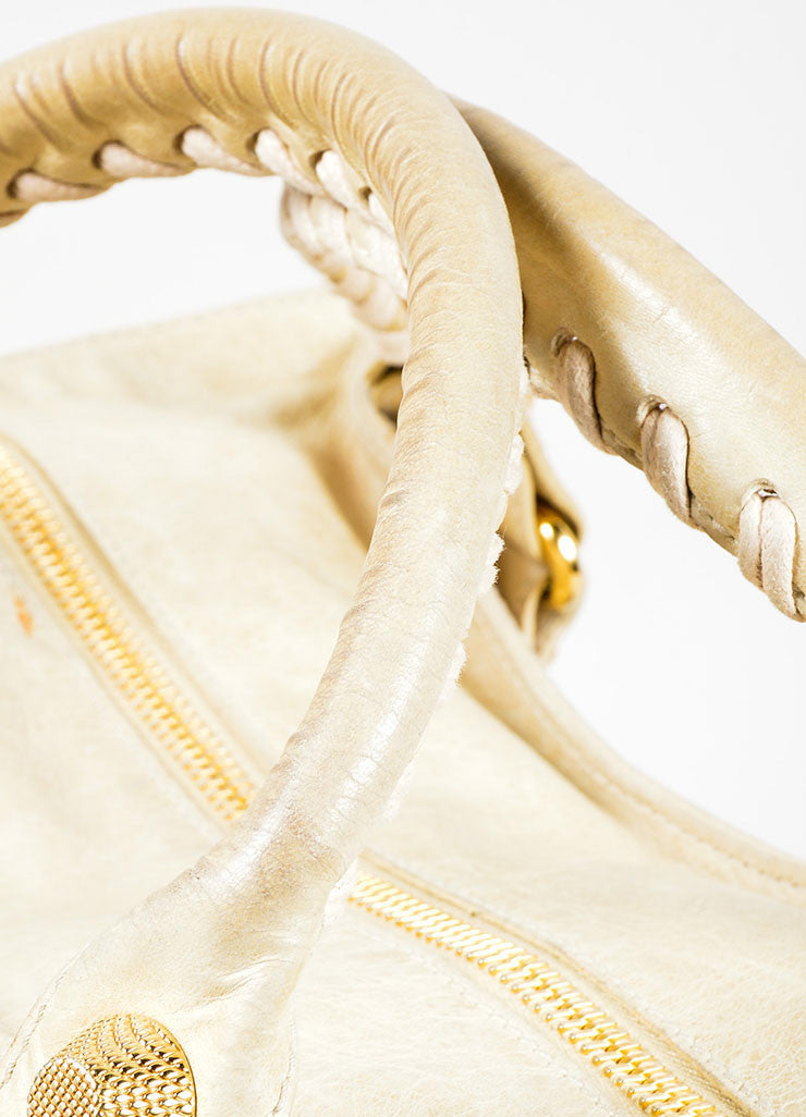 "Beige Leather Balenciaga ""Motocross Giant Brief"" Bag Detail 2"