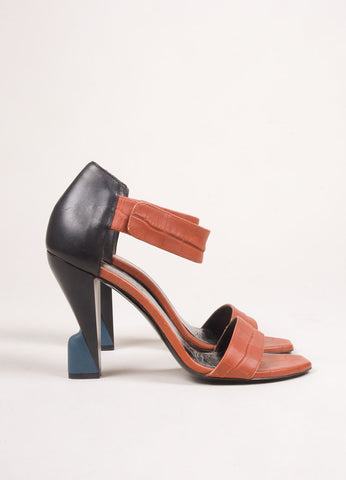 Balenciaga Burnt Orange and Black Leather Embossed Sandal Heels Sideview