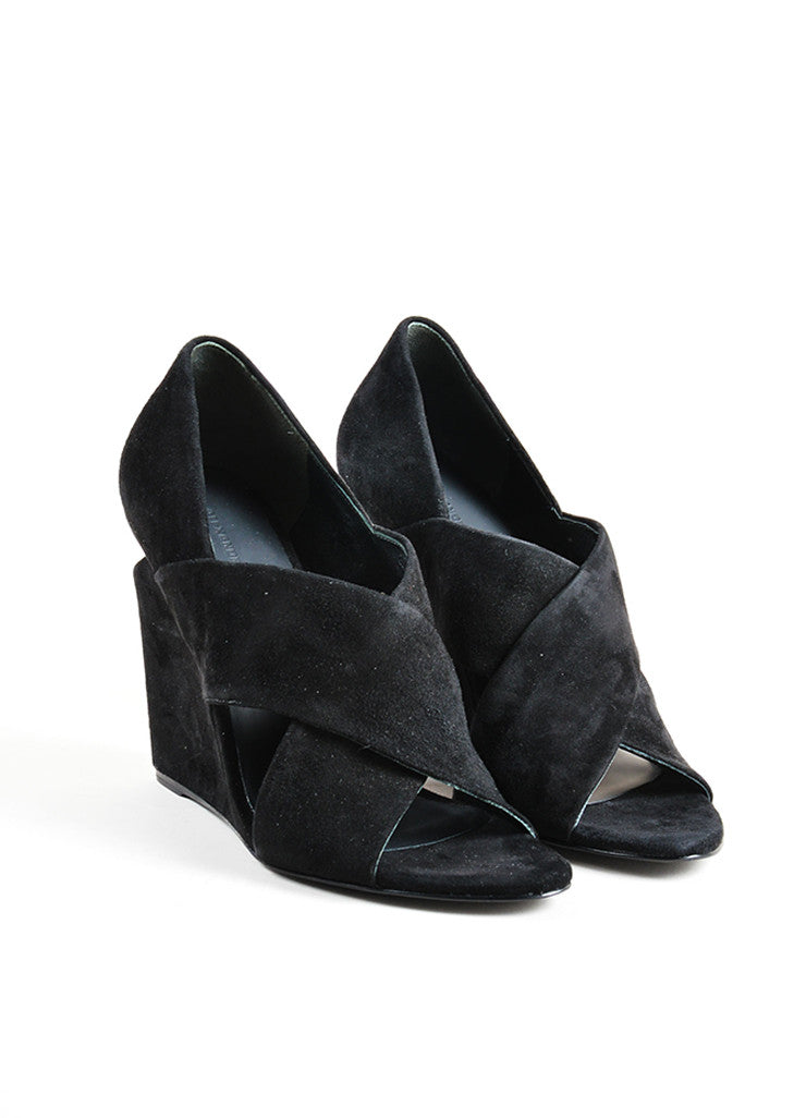"Alexander Wang Black Suede Metal Plate Cut Out ""Ida"" Wedge Sandals Frontview"