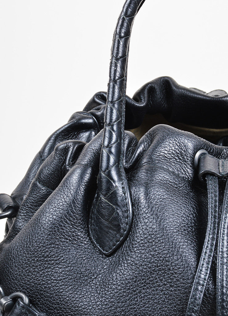"Black Bottega Veneta ""Intrecciato"" Crossbody Bag Detail"