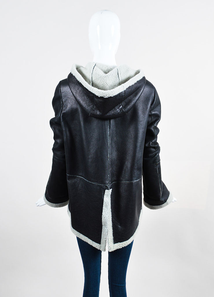 Boy by Band of Outsiders Black Leather Shearling Lined Hooded Jacket Backview