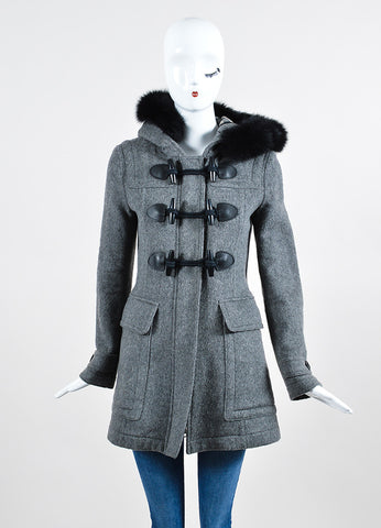 Burberry Brit Grey Wool Fox Fur Trimmed Duffle Hooded Toggle Coat Frontview 2