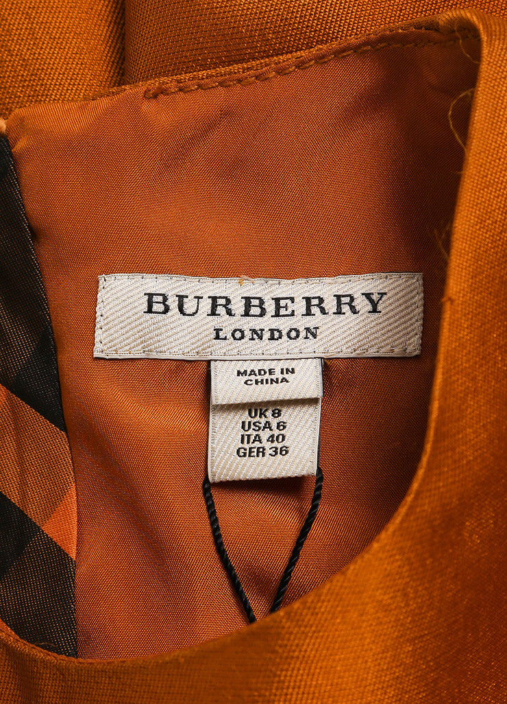 Burberry New With Tags Burnt Orange Silk and Wool Blend Metallic Cap Sleeve Dress Brand