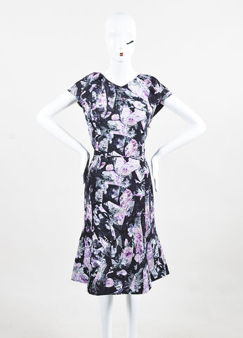 Carolina Herrera Black and Lavender Silk Floral Print Short Sleeve A-Line Dress Frontview