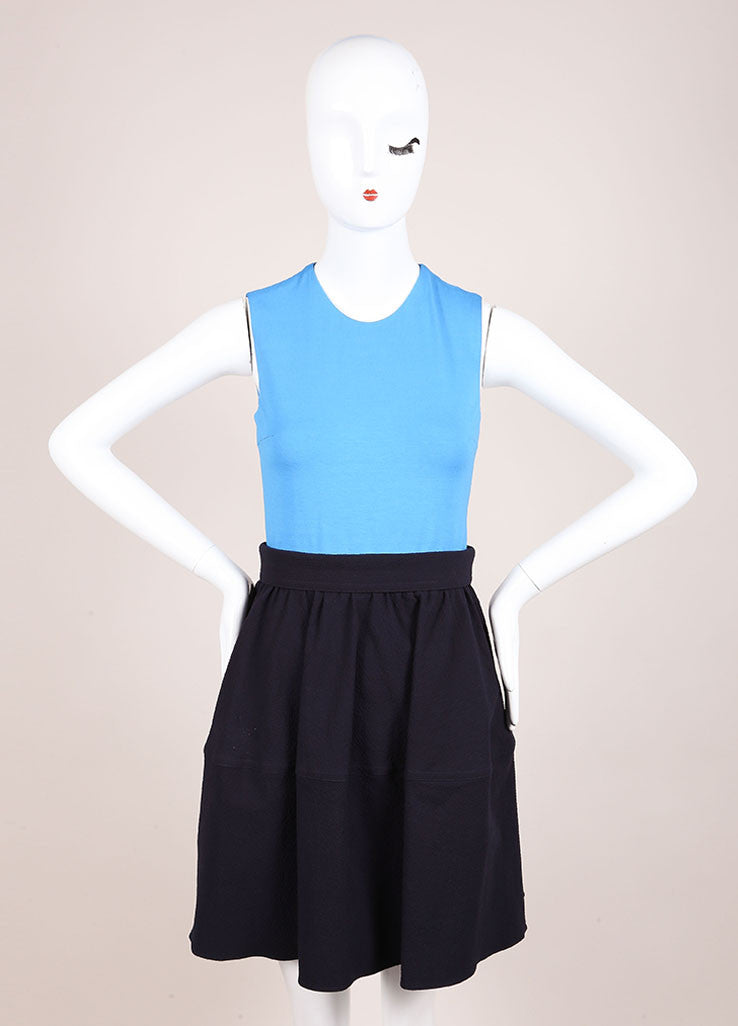 Carven Navy Blue Colorblock Sleeveless Combo Dress Frontview