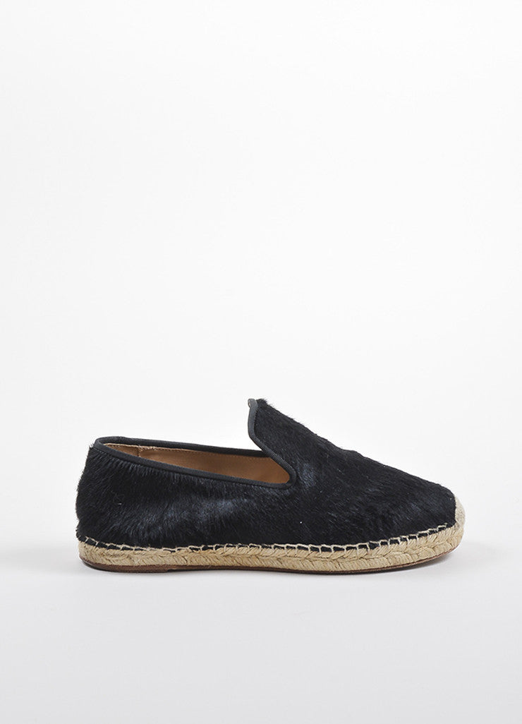 Celine Black Pony Hair Notched Vamp Espadrille Loafers Sideview