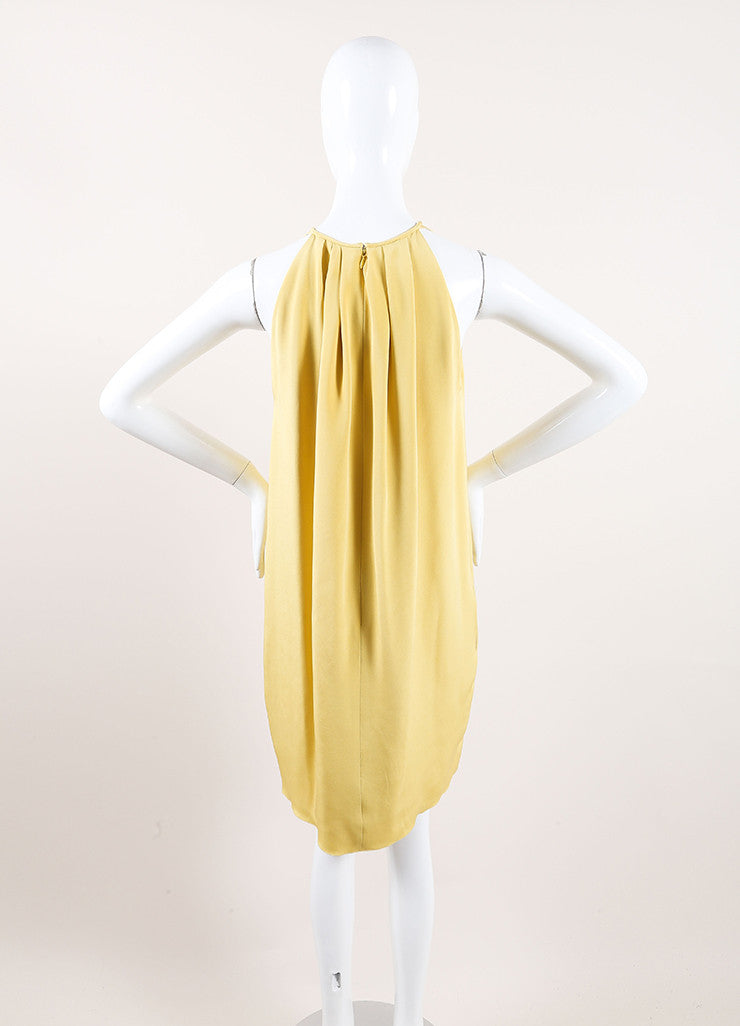 Celine Mustard Yellow Silk Pleated Sleeveless Trapeze Dress Backview