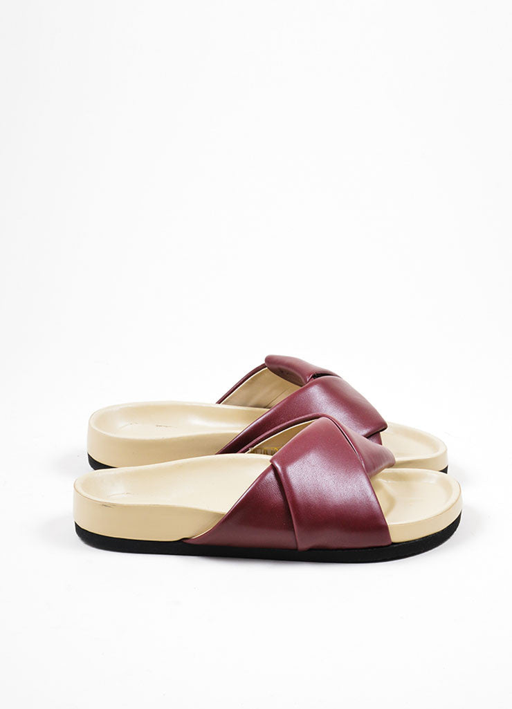 Burgundy Celine Leather Twist Flat Slide Sandals Sideview