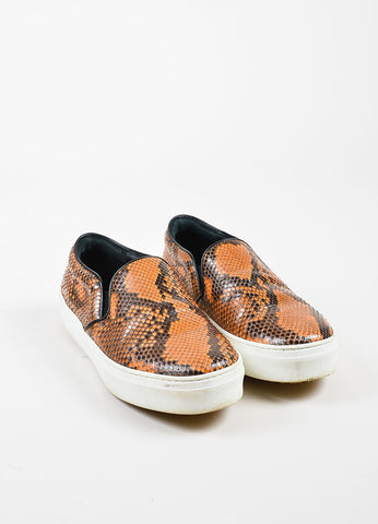 Celine Orange and Black Python Slip On Platform Sneakers  Frontview