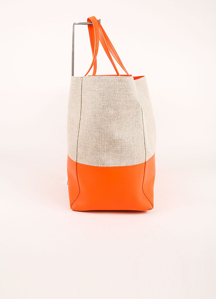 "Celine Orange and Natural Linen and Leather ""Horizontal Bi Cabas"" Tote Bag Sideview"