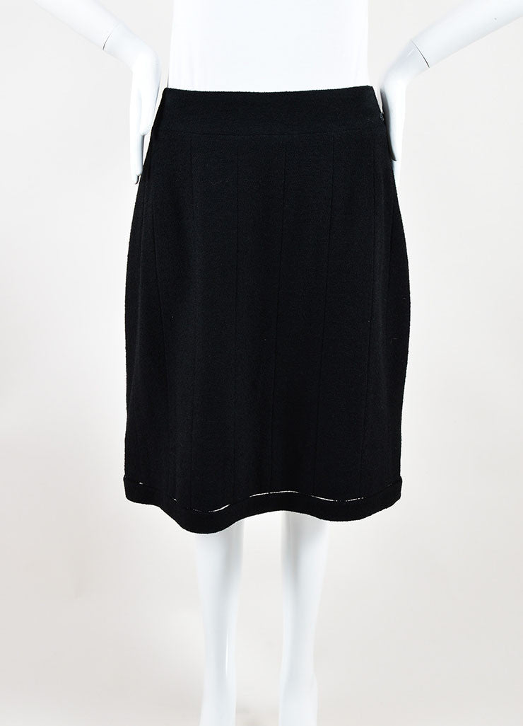 Chanel 03A Black Wool Textured Pencil Skirt Front