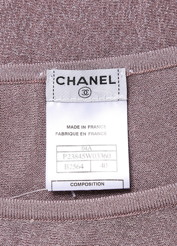 Chanel Metallic Silver and Lavender Knit Sleeveless Dress and Scarf Set Brand