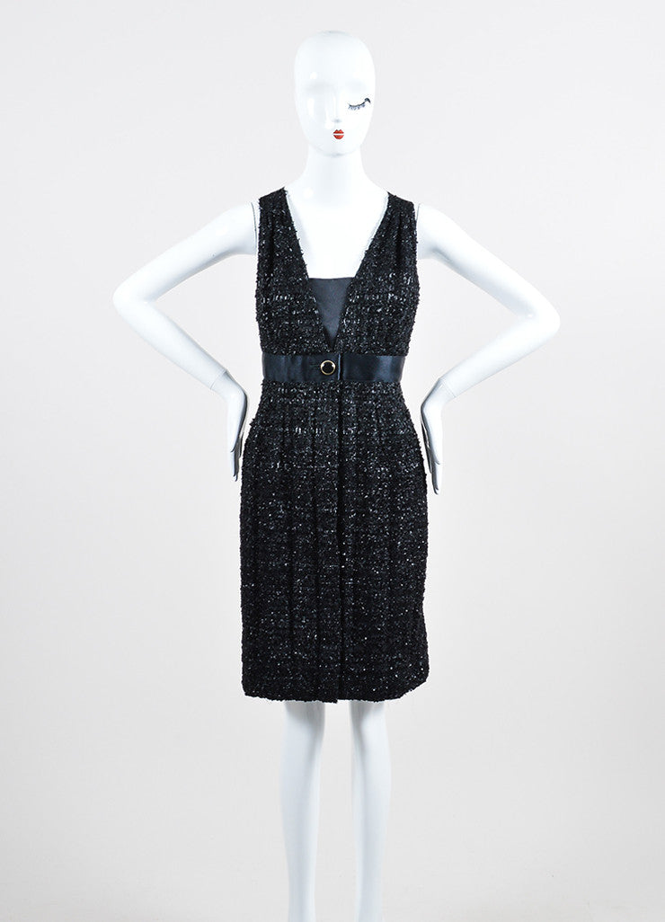 Black Chanel Glossy Tweed Satin Cross Strap Sleeveless Dress Frontview