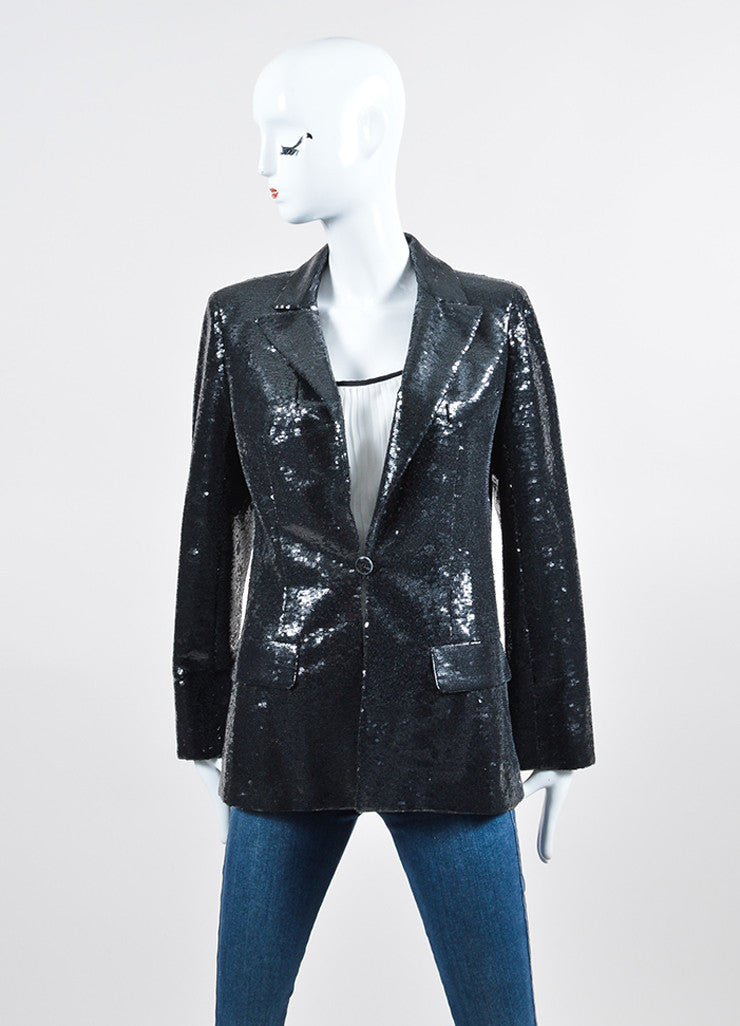 Black Sequin Chanel Blazer Jacket Frontview 2