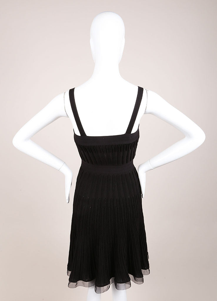 Chanel Black Wool Woven Knit Frayed Chain Embellished Sleeveless Dress Backview