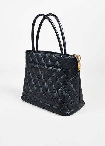 "Chanel Black GHW ""Medallion"" 'CC' Caviar Leather Top Handle Tote Bag Sideview"