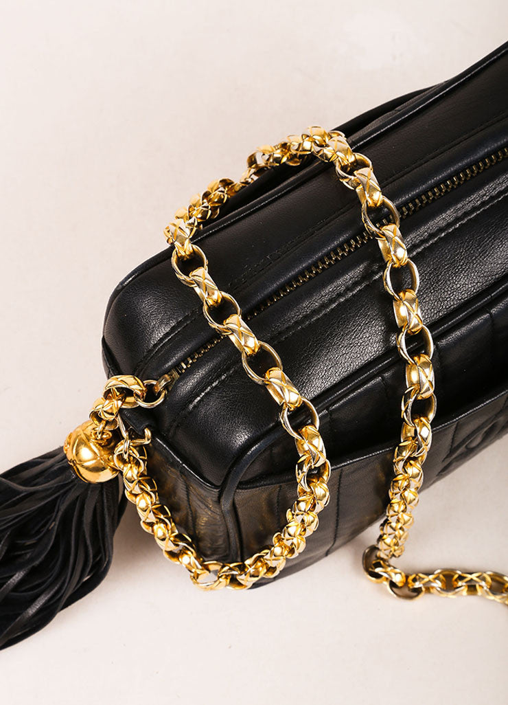 Chanel Black Quilted Leather Tassel Gold Toned Chain Camera Bag Detail 2