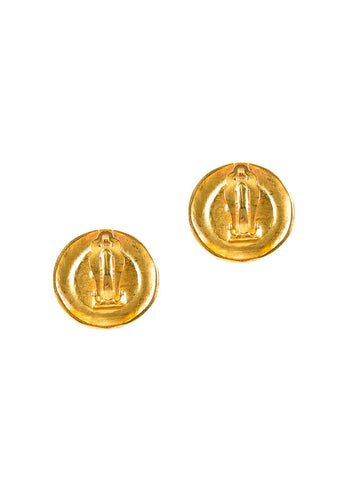"Chanel Gold Toned Enamel Floral ""CC"" Logo Embellished Earrings Backview"