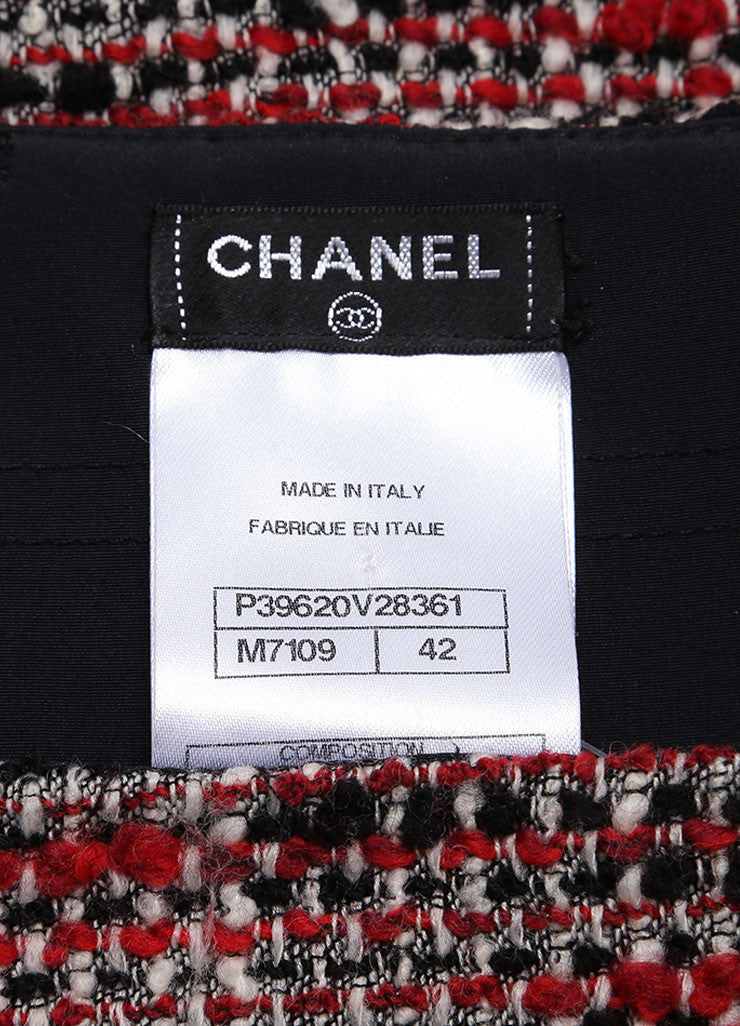 Chanel Black, Cream, and Red Wool Woven Skirt Brand