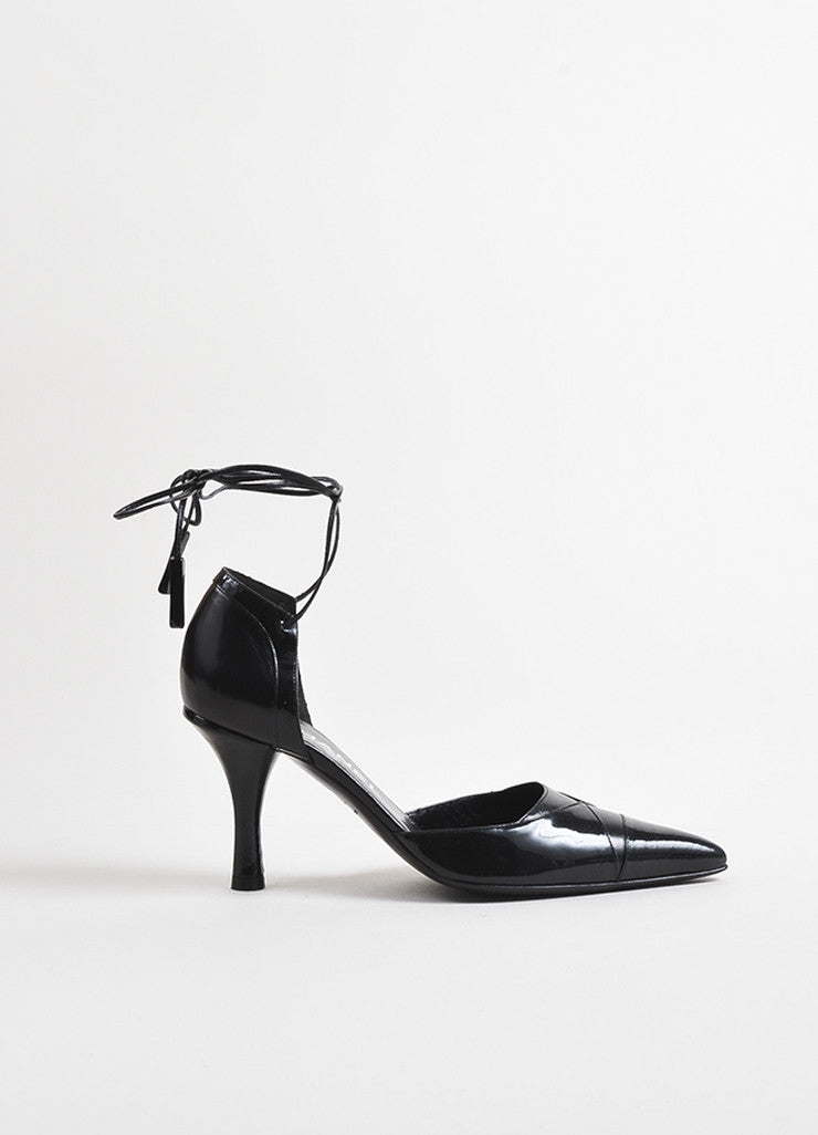 Chanel Black Leather Patent Leather Cap Toe Wrap Up Pumps Sideview