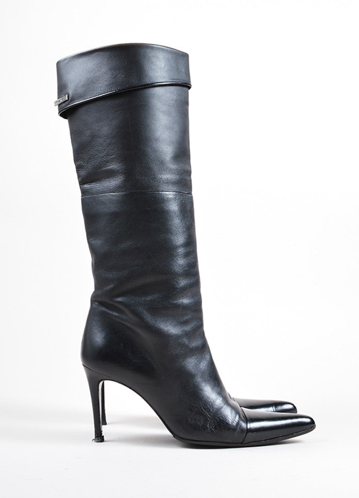Chanel Black Leather Pointed Cap Toe Knee High Heeled Boots Sideview