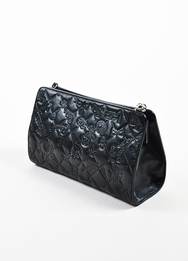 "Black Chanel Leather Quilted Embossed ""Precious Symbols"" Chain Shoulder Bag Sideview"