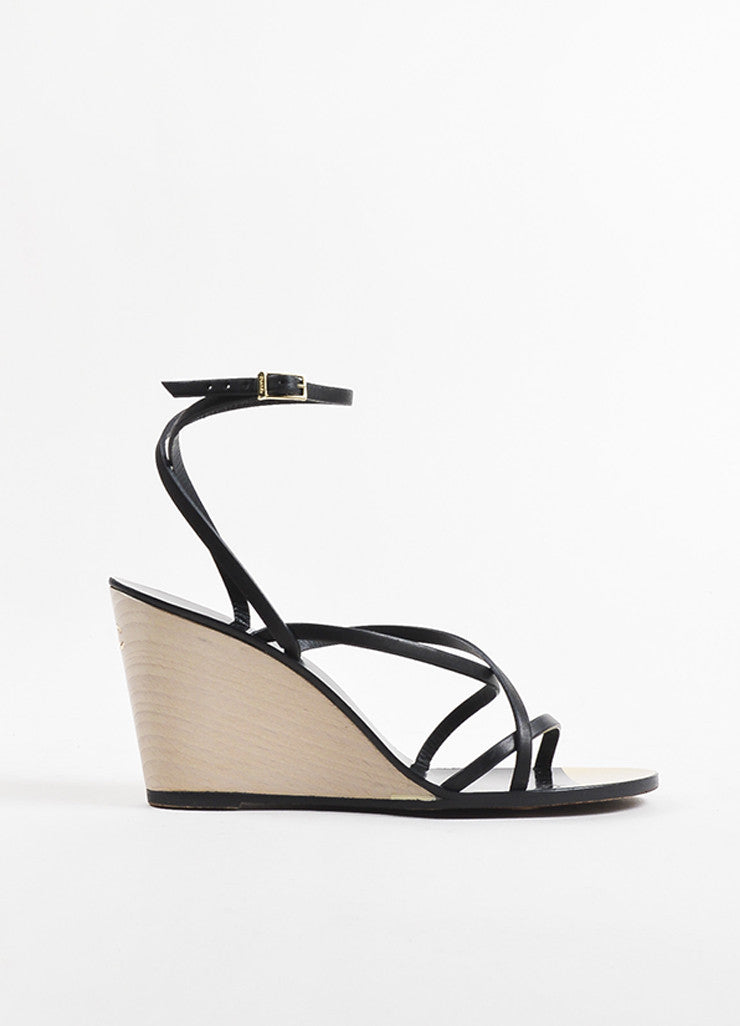 Chanel Black, Metallic Gold, and Cream Leather Strappy Wedge Sandals Sideview