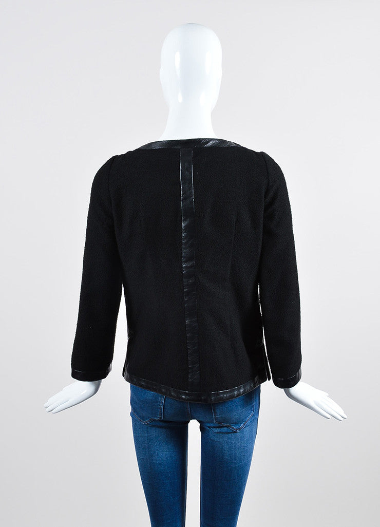 Black Chanel Woolen Knit Leather Trim Tailored Blazer Jacket Backview