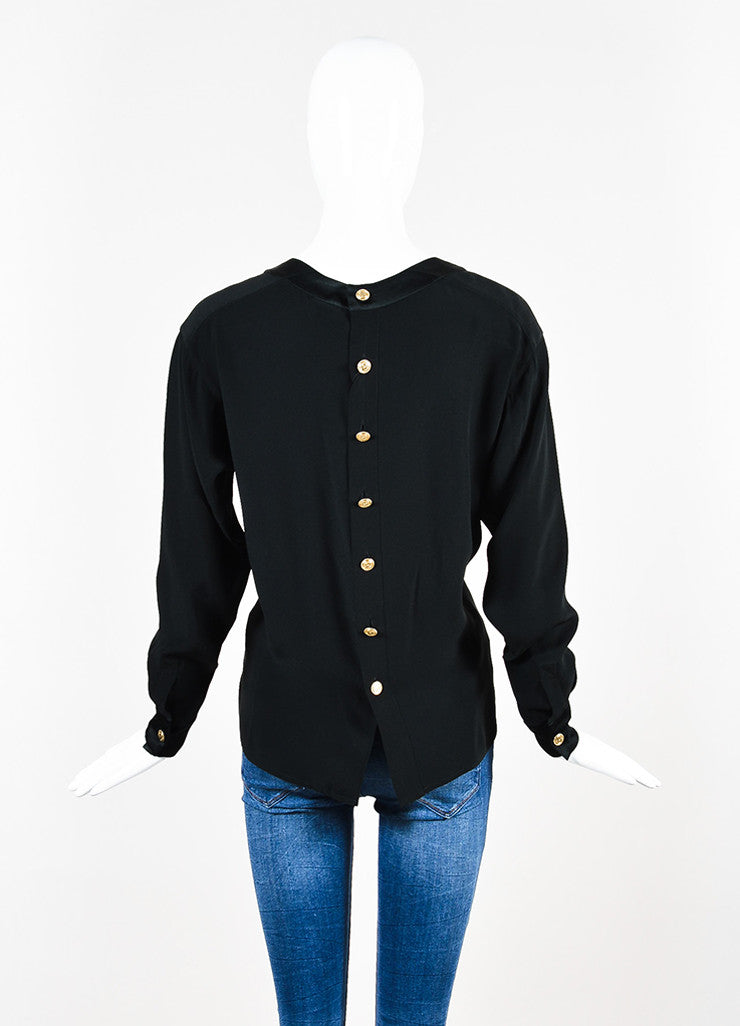 Chanel Black Quilted Inset and Buttoned Back Long Sleeve Blouse Backview