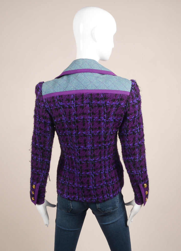 Chanel Purple and Black Wool Knit Denim Trim Woven Long Sleeve Jacket Backview